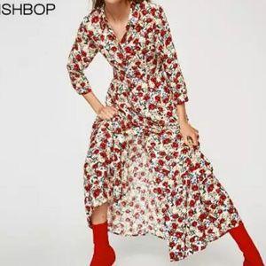 🆕 Floral long dress collar quarter sleeve buttons